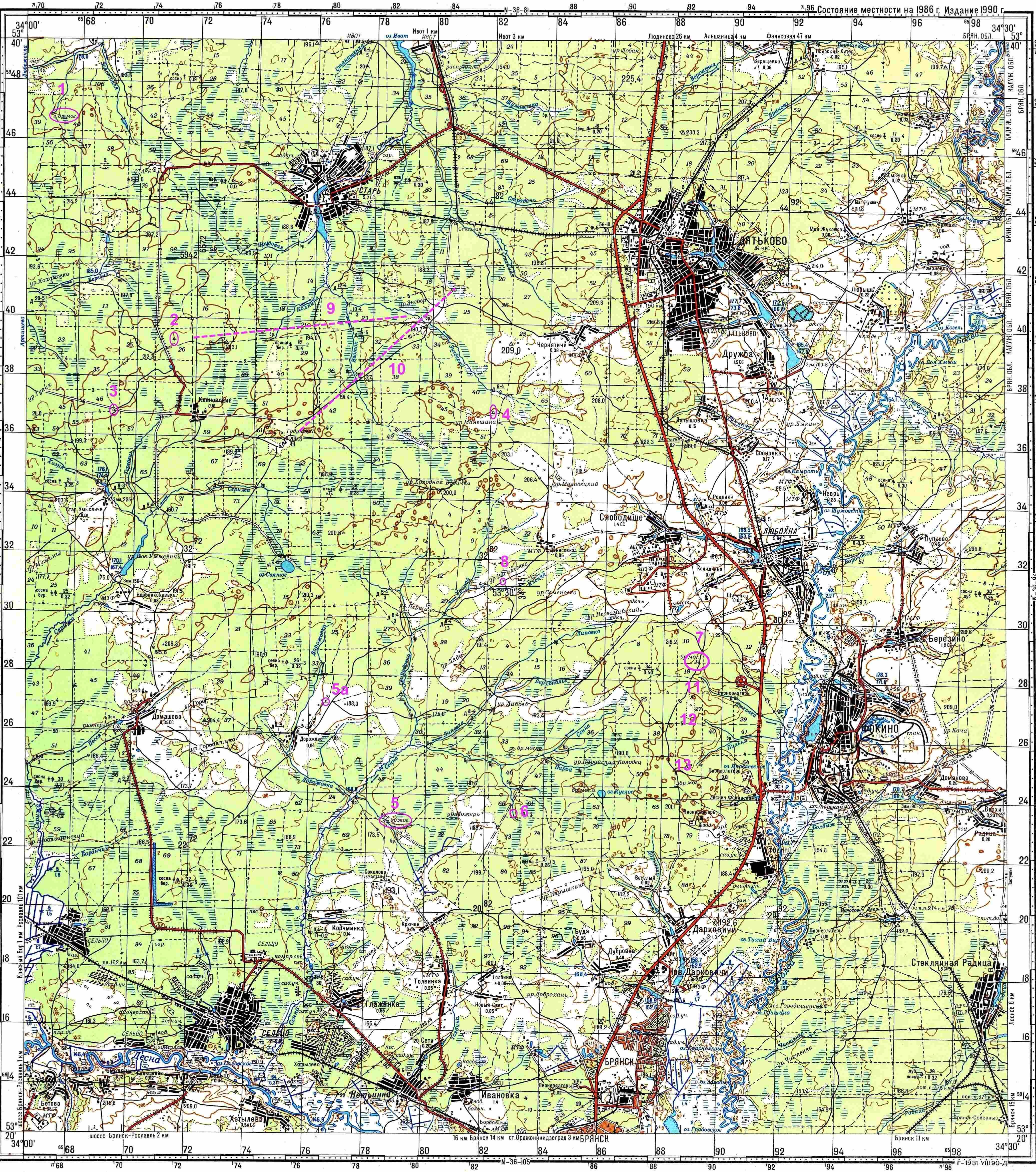 дятьково на старых топографических картах